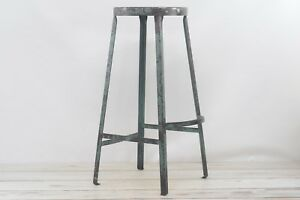 Vintage Industrial Stool 29 Lab Stool Metal Fabulous Blue Paint