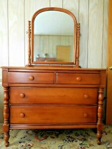 Antique Early American Maple Dresser With Tilting Mirror