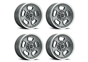 Set 4 15 Vision Muscle 148 Shift Satin Grey Wheels 15x7 5x4 5 6mm Classic Rims