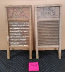 Lot Of 2 Dubl Handi Vintage Washboard Columbus Ohio 8 1 2 X 18 Travel Size