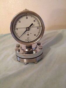 Vintage Bourdon Haenni 316 Gauge 60 Psi Oil Filled Stainless On Mount steampunk