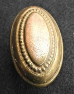 Victorian Copper Brass Wash Bead Oval Door Knob 2 1 2
