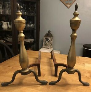 Vintage Cast Iron Brass Fireplace Andirons Fire Logs Log Holders