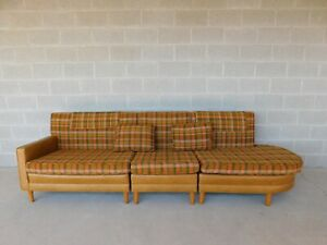 Vintage Mid Century Faux Ostrich Plaid 3 Section Sofa