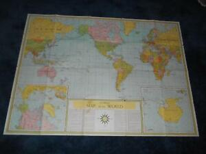 Old Vtg Universal Map Of The World Global Changes Since World War Ii 49 X36