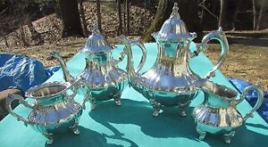 Mint Louis Philippe Pattern 4 Piece Tea Coffee Set By Towle Silver Plated