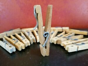 16 Vintage Primitive Fancy Spring Wire Clothes Pins Wood Rustic Craft Laundry