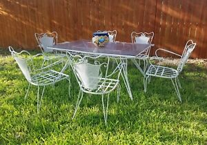 Mid Century Salterini Patio Dining Table 6 Chairs White Punched Tin W Shelf