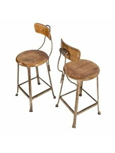 Tool And Die Factory Machinist Stools With Original Maple Wood Seats