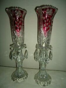 Antique Collectible Pair Ruby Red Crystal Electric Prisms Table Boudoir Lamps