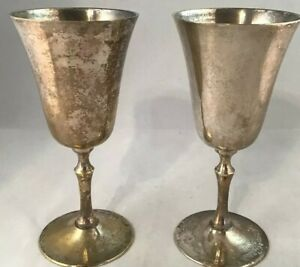 Silverplate Wine Glasses Goblets Pair Set 2 6 5 Worn Tarnished Antique Vintage