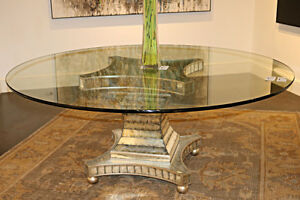 Antiqued Mirror Art Deco Mid Century Modern Glass Top Dining Table 72 Inches