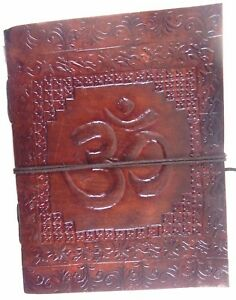 Aum Embossed Handmade Leather Journal Notepad Notebook Blank Paper Diary D9