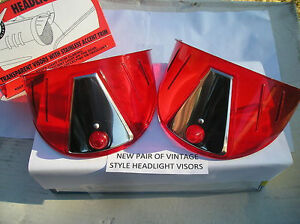 New Pair Of Red Vintage Style Head Light Visors