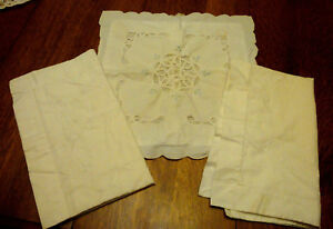 Antique Pillow Shams Embroidered Lot Of 3 Two Standard Plus 1 Lacy Square