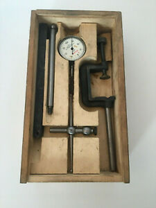 Vintage L s starrett No 196a Dial Test Indicator Set Wooden Case