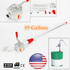 Aluminum Rotary Gas Oil Fuel Hand Pump 55 Gallons Self Priming Dispenser Tool Us