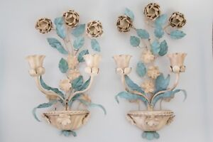 A Pair Of Mid Century Italian Tole Flower Wall Candle Sconces