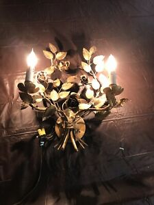 Vintage Large Antique Wall Sconce Chandelier 2 Light Candelabra Italy Tole Metal