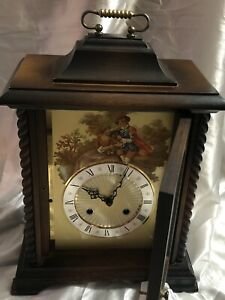 Antique Clock Carriage Mechanical Mantel Bracket Clock Excellent Working Order