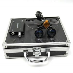 Dental 3 5x Binocular Loupes 3w Led Head Light W Filter Aluminum Box Black