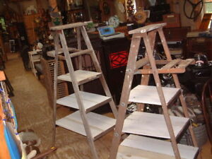Antique Vintage 59 56 Shelf Wood Ladder Step Stool Rustic Decor Shabby Look