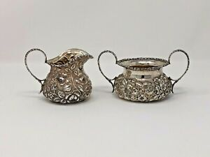 Antique Circa 1910 Stieff Sterling Silver Repousse Creamer Sugar Set
