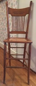 Antique Oak Wood Child Youth High Chair Cane Seat And Pressed Back 1890 Era