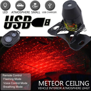 Usb Red Led Projector Car Interior Decoration Meteor Star Party Light Remote