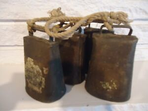 Lot Of 4 Antique Brass Cow Bell W Label Kentucky Sargent New Haven Ct Original