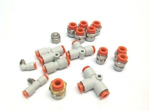 Lot Of Smc Assorted Pneumatic Fittings