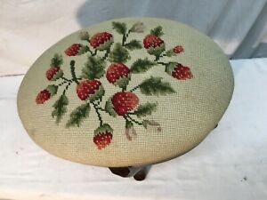 Embroidered Wood Ottoman Foot Stool Strawberry Country Cottage