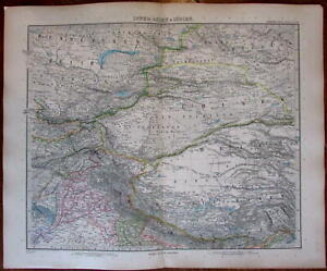Northern India Tibet Punjab Region China Central Asia 1890 Old Stieler Color Map