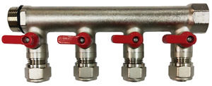 3 4 4 loops Ball Valve red Handle Brass Pex Manifold For 1 2 Pex