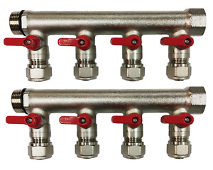 3 4 8 loops Ball Valve red Handle Brass Pex Manifold For 1 2 Pex