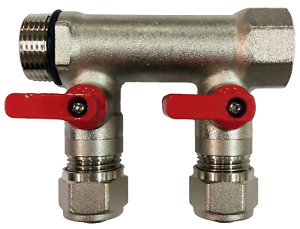 3 4 2 loops Ball Valve red Handle Brass Pex Manifold For 1 2 Pex