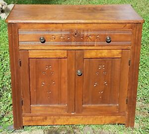 Walnut Victorian Small Dresser Floral Eastlake Design