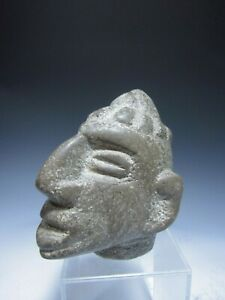 Pre Columbian Costa Rica Carved Stone Marker In The Shape Of A Head Ca 1500 Ad