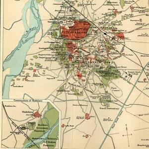India Lahore Environs Old Meean Meer 1909 Detailed Old Color Litho Map