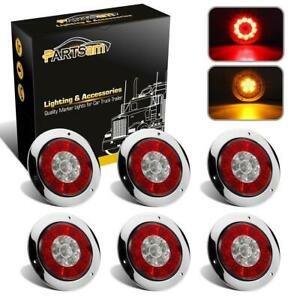 6x 4 Led Red amber Stop Brake Parking Turn Signal Light W Stainless Steel Ring