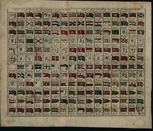 Flags Of The World C 1760 De Leth Antique Engraved Hand Color Chart Print