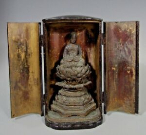 Fine Japan Japanese Carved Wood Figure Of The Buddha In Zushi Case Ca 19 20th C