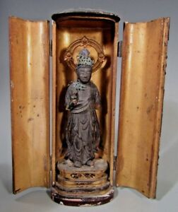 Fine Japan Japanese Carved Wood Figure Of A Deity In Zushi Case Ca 19 20th C