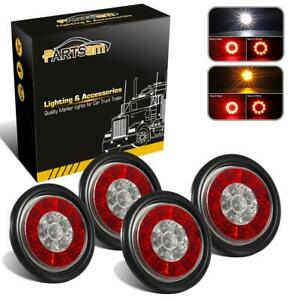 2xred amber 2xred white 16led 4 Brake Stop Turn Tail Backup Lights Rubber Mount