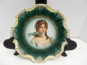 Portrait Plate Empire China Queen Louise Of Prussia Gold Scalloped Edge