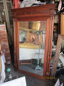 Large Antique Federal Style Carved Mahogany Mirror