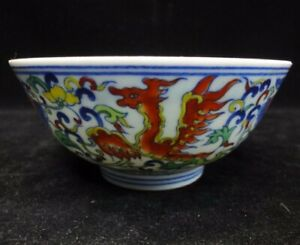Very Fine Old Chinese Doucai Painting Porcelain Bowl Marked Yongzheng