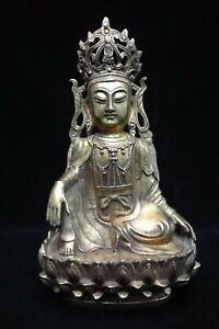 Rare Large Old Chinese Gilt Bronze Guanyin Buddha Seated Statue Top Quality