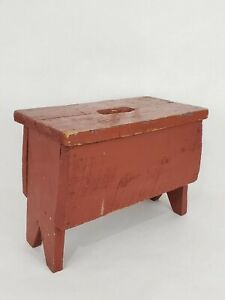 Small Wood Milking Stool Plant Stand Red Chippy Distressed Step Primitive Vtg