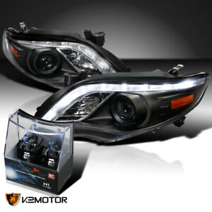 For 2011 2013 Toyota Corolla Black Led Drl Projector Headlights h1 Halogen Bulbs